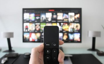 closeup of a tv remote