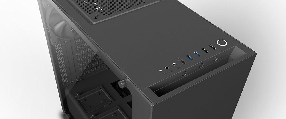 image showing front panel connectors on the case