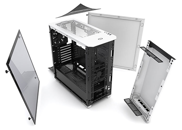 image showing disassembled white version of the Eclipse P400 Tempered Glass