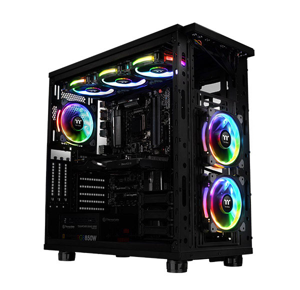 Riing Plus installed on a PC case