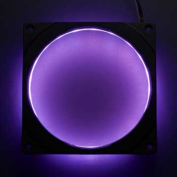 image of an illuminated Phanteks Halos RGB Fan Frame