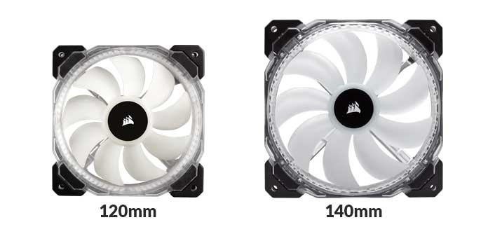 120mm and 140mm fan compared side to side