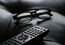 tv remote and glasses