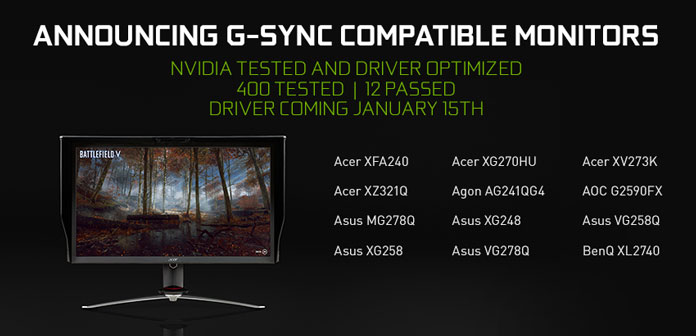 nvidia announcing g sync compatible monitors