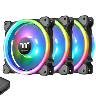 Thermaltake Riing Trio 12 RGB Fans on a white background